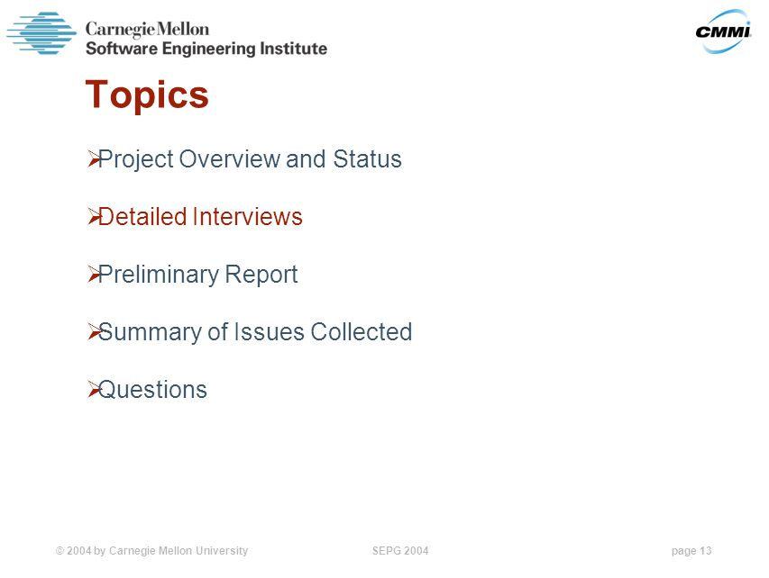 © 2004 by Carnegie Mellon University SEPG 2004page 13 Topics  Project Overview and Status  Detailed Interviews  Preliminary Report  Summary of Issues Collected  Questions
