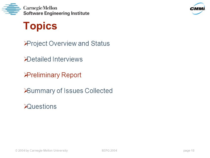 © 2004 by Carnegie Mellon University SEPG 2004page 18 Topics  Project Overview and Status  Detailed Interviews  Preliminary Report  Summary of Issues Collected  Questions