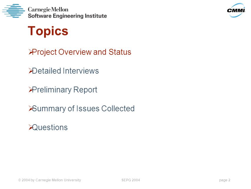 © 2004 by Carnegie Mellon University SEPG 2004page 2 Topics  Project Overview and Status  Detailed Interviews  Preliminary Report  Summary of Issues Collected  Questions