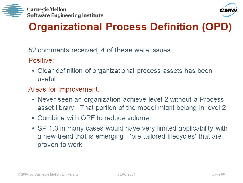 © 2004 by Carnegie Mellon University SEPG 2004page 60 Organizational Process Definition (OPD) 52 comments received; 4 of these were issues Positive: Clear definition of organizational process assets has been useful.