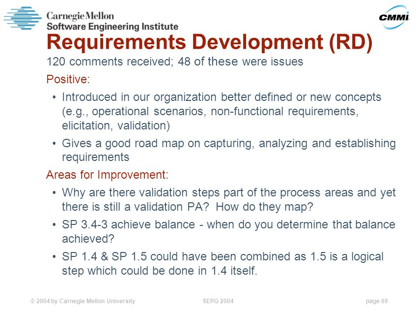 © 2004 by Carnegie Mellon University SEPG 2004page 69 Requirements Development (RD) 120 comments received; 48 of these were issues Positive: Introduced in our organization better defined or new concepts (e.g., operational scenarios, non-functional requirements, elicitation, validation) Gives a good road map on capturing, analyzing and establishing requirements Areas for Improvement: Why are there validation steps part of the process areas and yet there is still a validation PA.