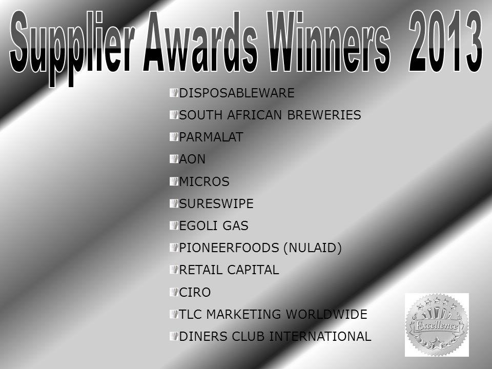 DISPOSABLEWARE SOUTH AFRICAN BREWERIES PARMALAT AON MICROS SURESWIPE EGOLI GAS PIONEERFOODS (NULAID) RETAIL CAPITAL CIRO TLC MARKETING WORLDWIDE DINERS CLUB INTERNATIONAL