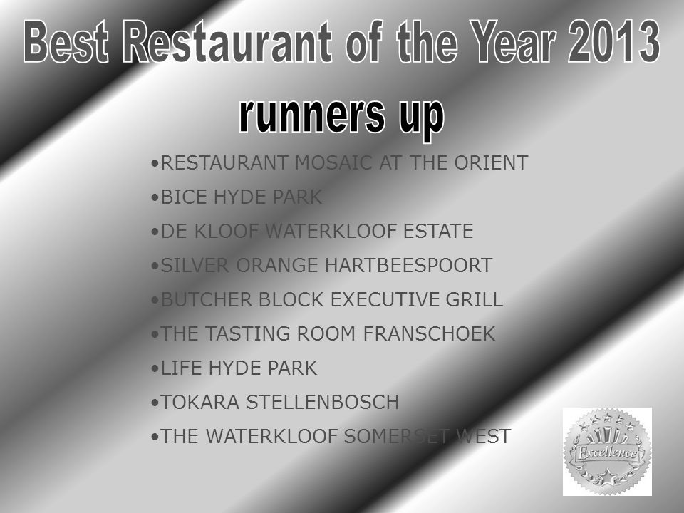 RESTAURANT MOSAIC AT THE ORIENT BICE HYDE PARK DE KLOOF WATERKLOOF ESTATE SILVER ORANGE HARTBEESPOORT BUTCHER BLOCK EXECUTIVE GRILL THE TASTING ROOM F