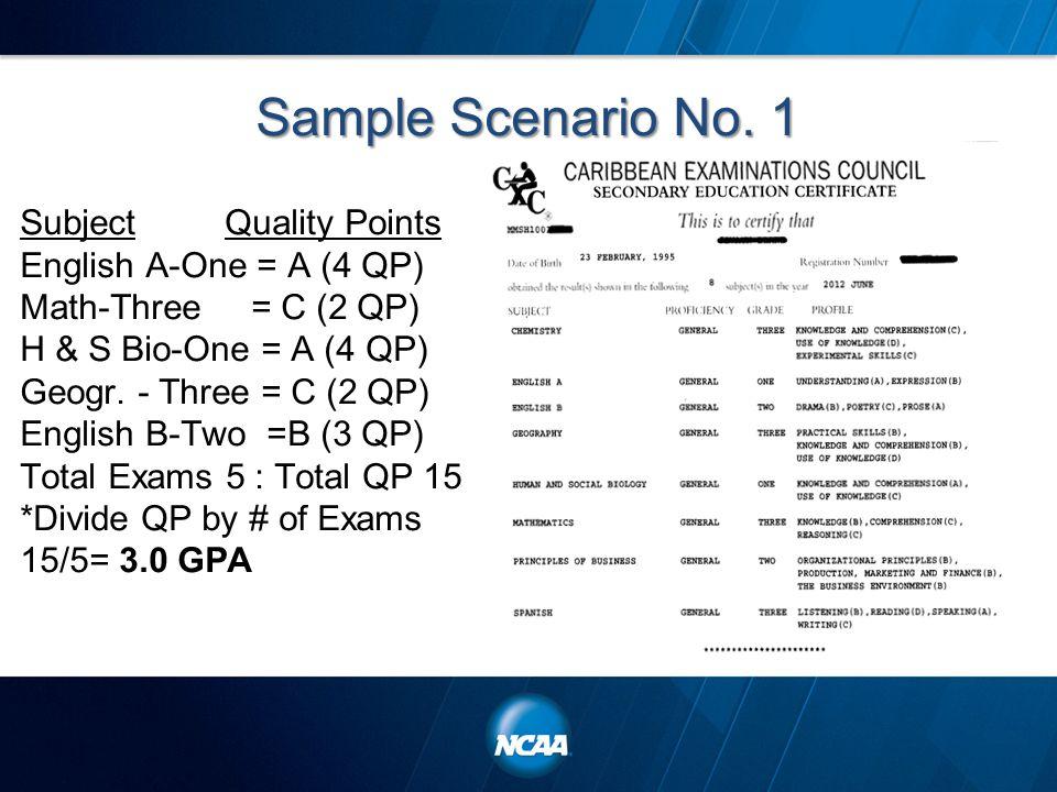 Sample Scenario No. 1 Subject Quality Points English A-One = A (4 QP) Math-Three = C (2 QP) H & S Bio-One = A (4 QP) Geogr. - Three = C (2 QP) English