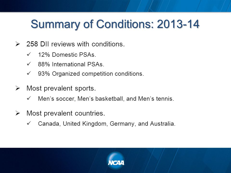 Summary of Conditions: 2013-14  258 DII reviews with conditions.