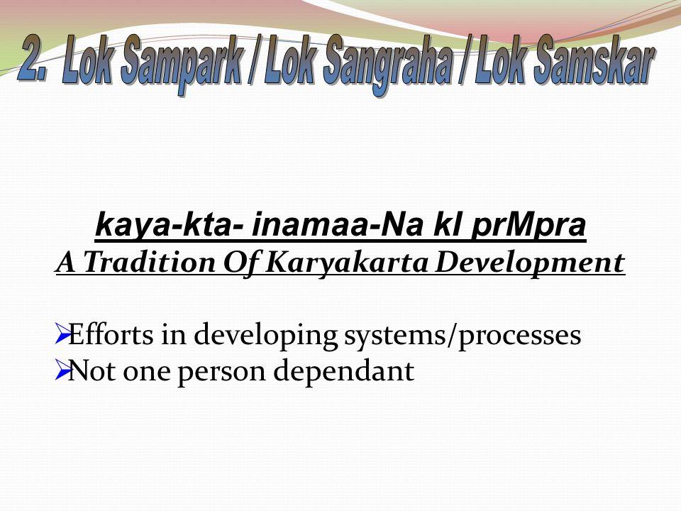kaya-kta- inamaa-Na kI prMpra A Tradition Of Karyakarta Development  Efforts in developing systems/processes  Not one person dependant