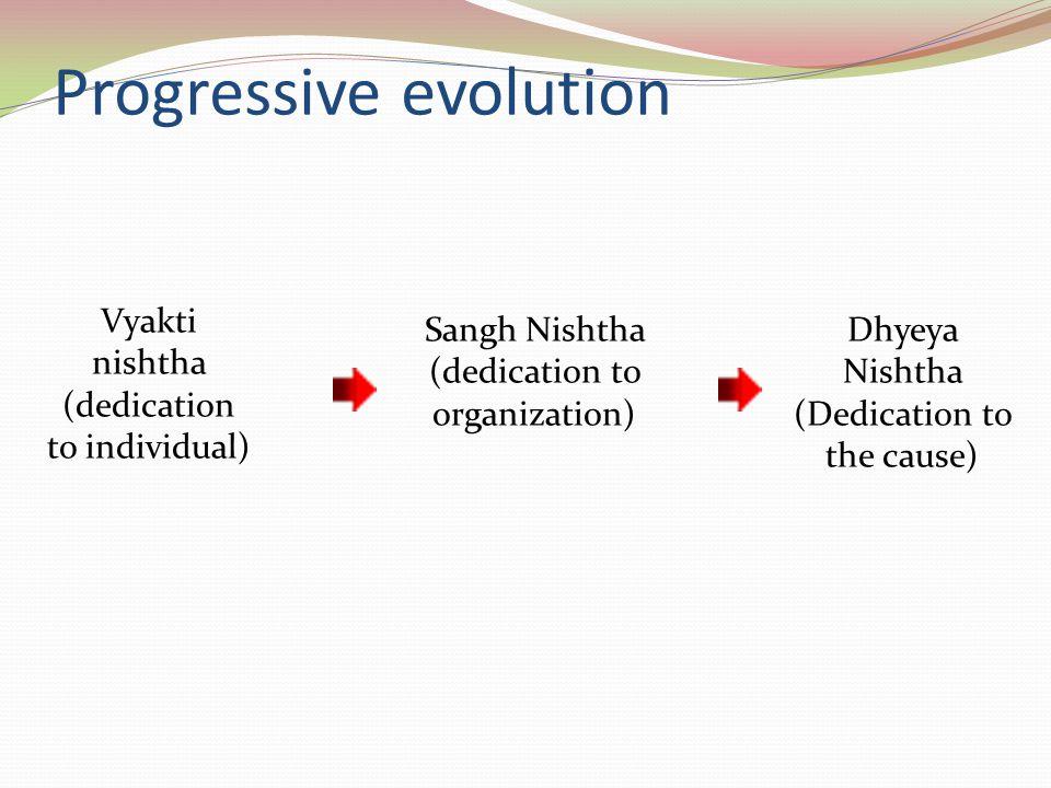 Progressive evolution Vyakti nishtha (dedication to individual) Sangh Nishtha (dedication to organization) Dhyeya Nishtha (Dedication to the cause)