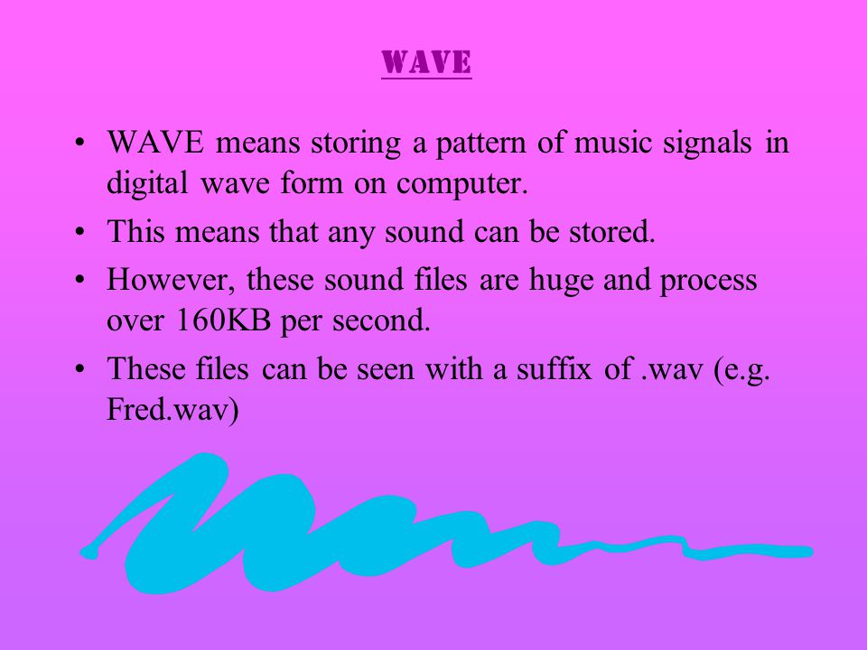 WAVE WAVE means storing a pattern of music signals in digital wave form on computer.