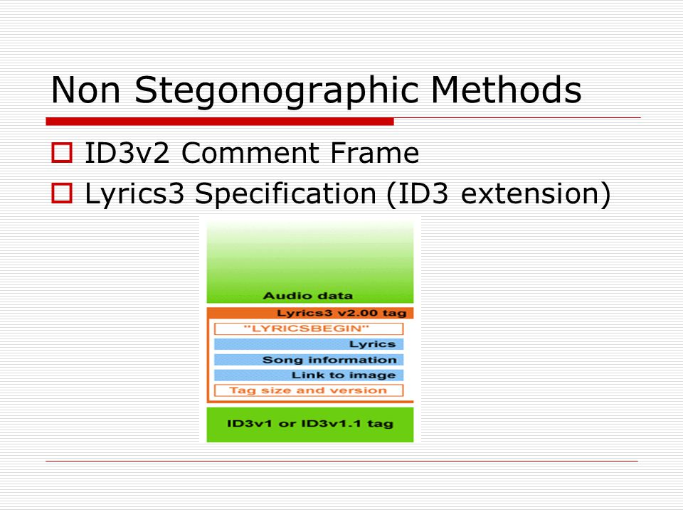 Non Stegonographic Methods  ID3v2 Comment Frame  Lyrics3 Specification (ID3 extension)