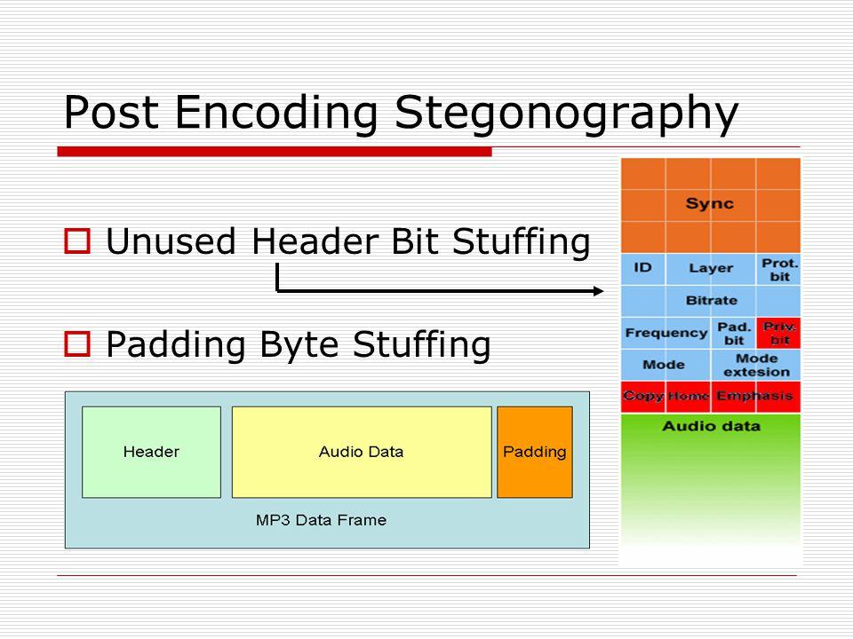 Post Encoding Stegonography  Unused Header Bit Stuffing  Padding Byte Stuffing