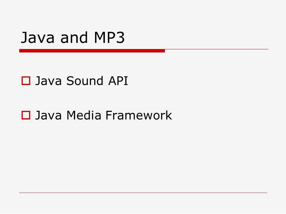 Java and MP3  Java Sound API  Java Media Framework