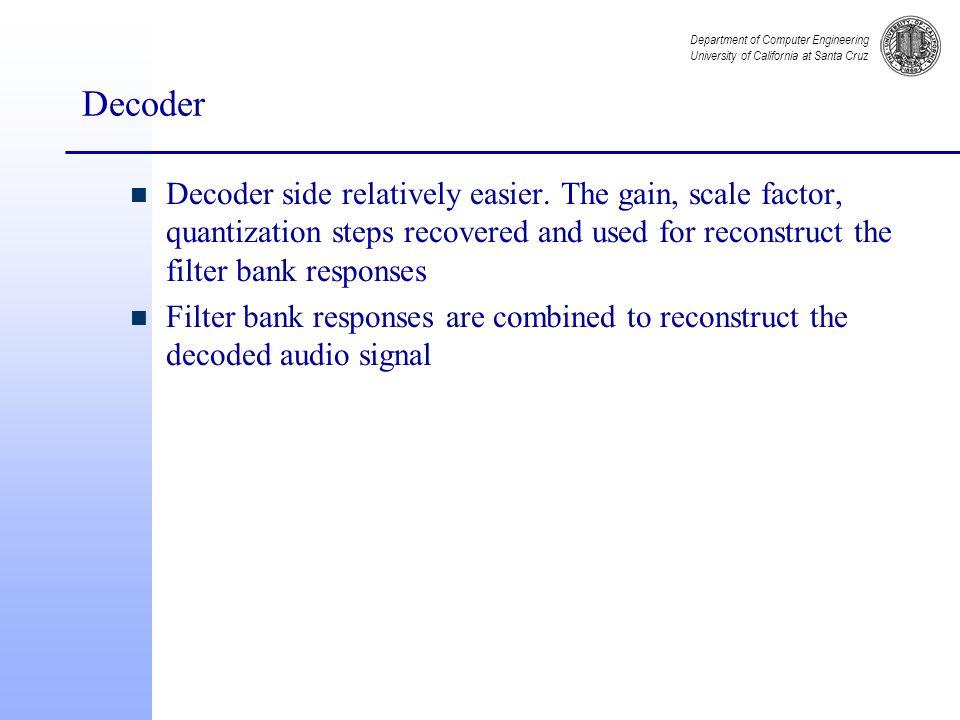 Department of Computer Engineering University of California at Santa Cruz Decoder n Decoder side relatively easier. The gain, scale factor, quantizati