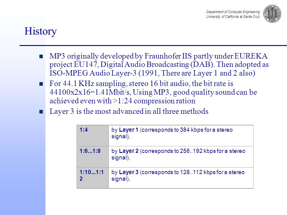 Department of Computer Engineering University of California at Santa Cruz History n MP3 originally developed by Fraunhofer IIS partly under EUREKA project EU147, Digital Audio Broadcasting (DAB).
