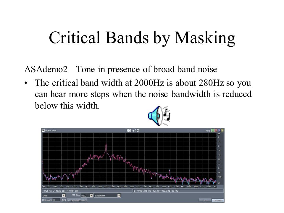 Critical Bands by Masking ASAdemo2 Tone in presence of broad band noise The critical band width at 2000Hz is about 280Hz so you can hear more steps when the noise bandwidth is reduced below this width.