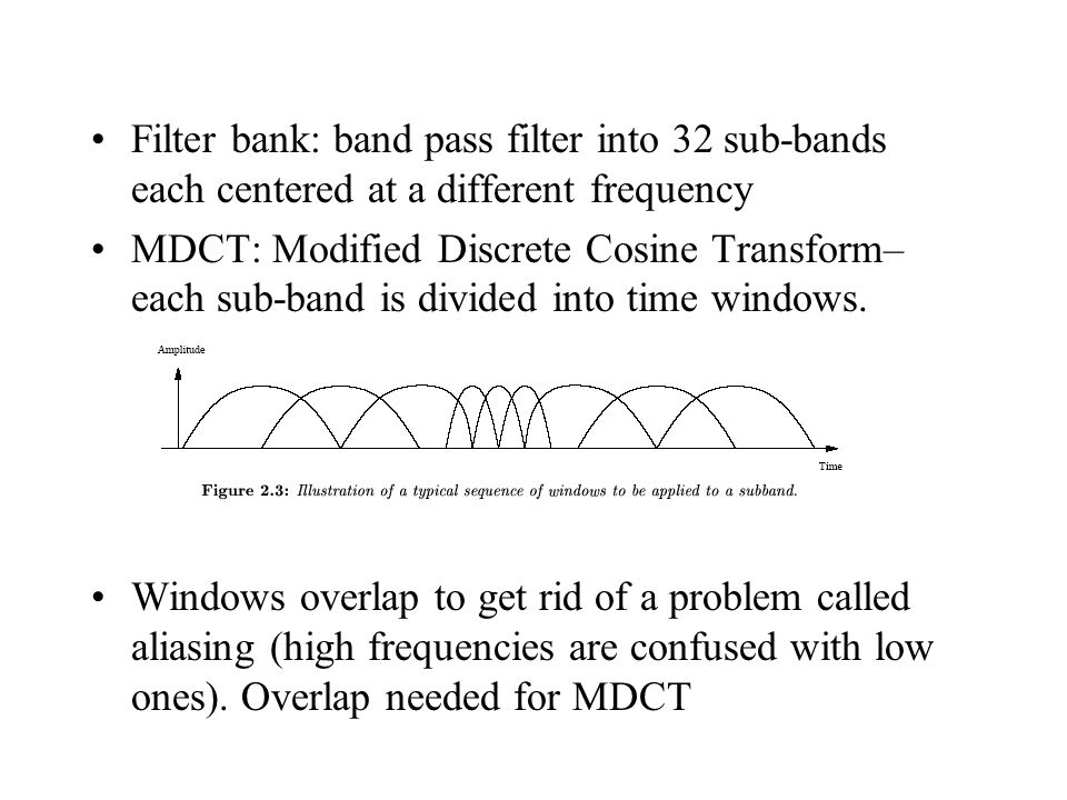 Filter bank: band pass filter into 32 sub-bands each centered at a different frequency MDCT: Modified Discrete Cosine Transform– each sub-band is divided into time windows.
