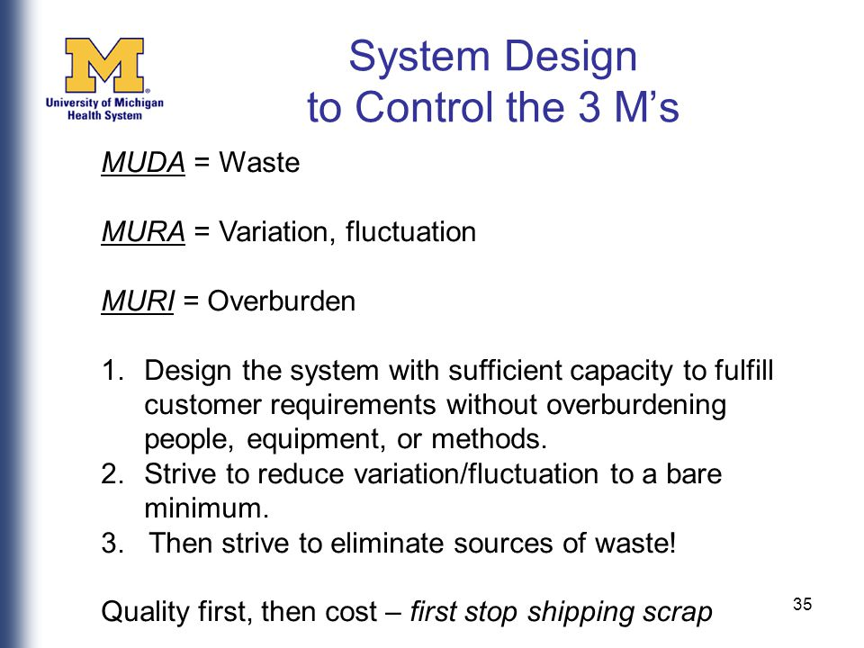 35 MUDA = Waste MURA = Variation, fluctuation MURI = Overburden 1.Design the system with sufficient capacity to fulfill customer requirements without overburdening people, equipment, or methods.