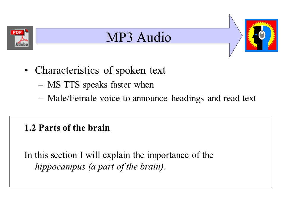 MP3 Audio Characteristics of spoken text –MS TTS speaks faster when –Male/Female voice to announce headings and read text 1.2 Parts of the brain In this section I will explain the importance of the hippocampus (a part of the brain).