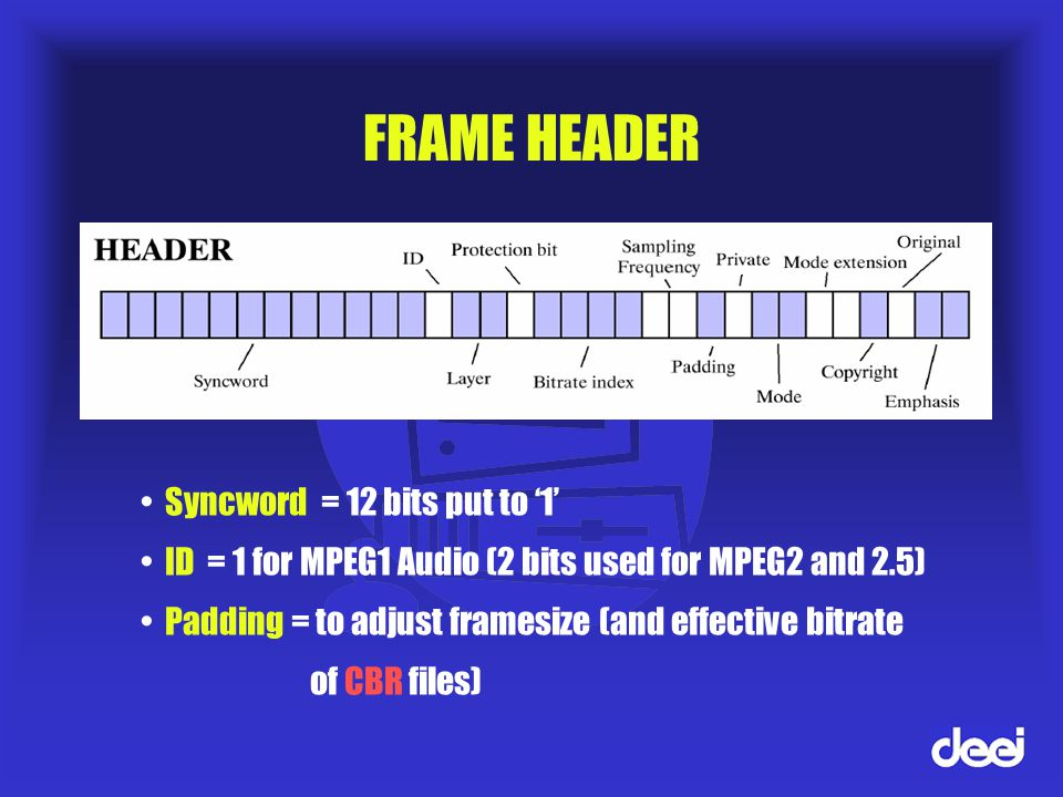 FRAME HEADER Syncword = 12 bits put to '1' ID = 1 for MPEG1 Audio (2 bits used for MPEG2 and 2.5) Padding = to adjust framesize (and effective bitrate of CBR files)