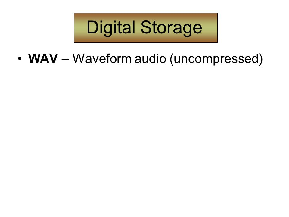 Digital Storage WAV – Waveform audio (uncompressed)