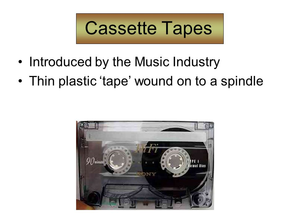Cassette Tapes Introduced by the Music Industry Thin plastic 'tape' wound on to a spindle