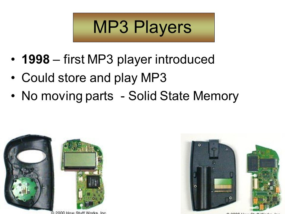 MP3 Players 1998 – first MP3 player introduced Could store and play MP3 No moving parts - Solid State Memory