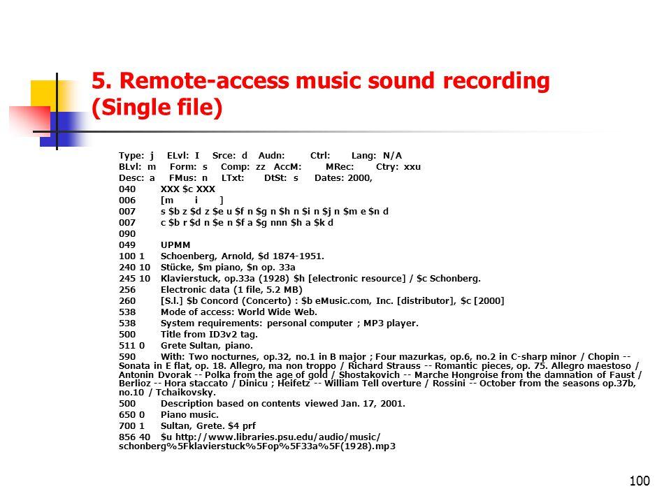 100 5. Remote-access music sound recording (Single file) Type: j ELvl: I Srce: d Audn: Ctrl: Lang: N/A BLvl: m Form: s Comp: zz AccM: MRec: Ctry: xxu