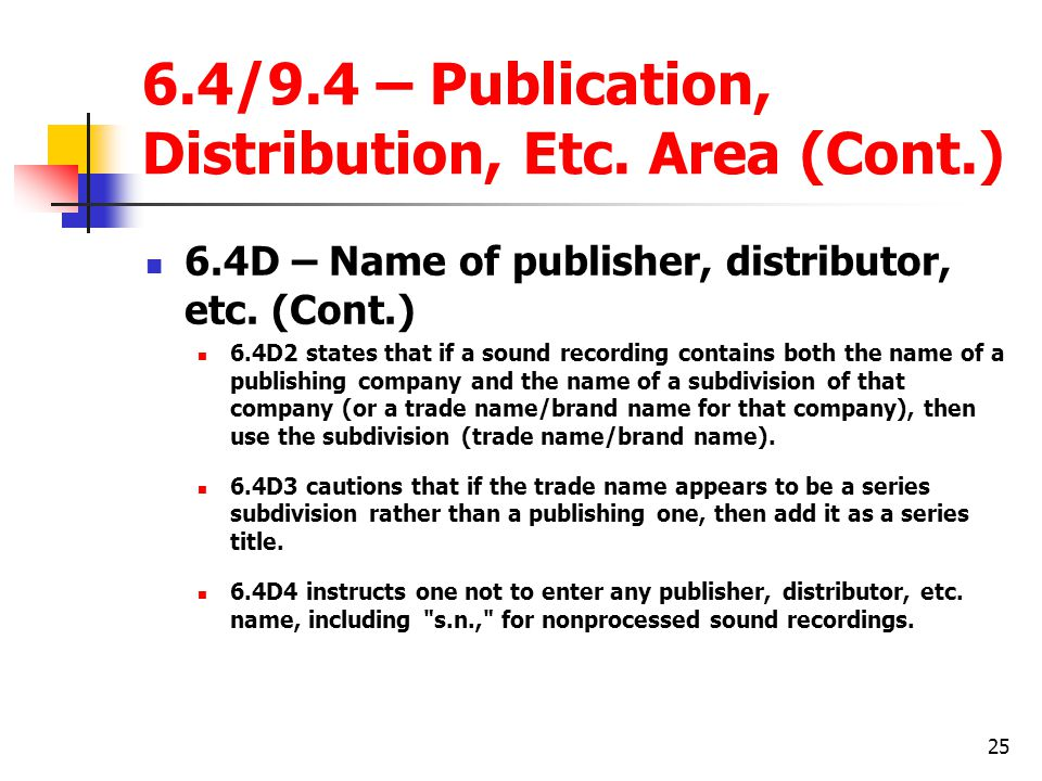 25 6.4/9.4 – Publication, Distribution, Etc.