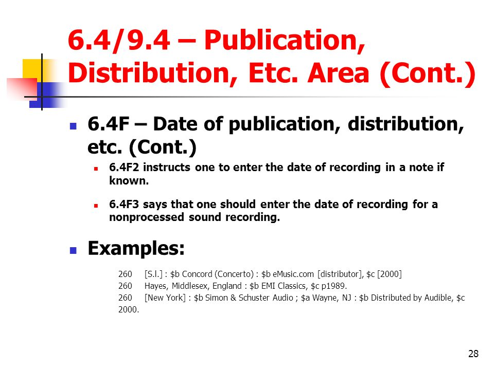 28 6.4/9.4 – Publication, Distribution, Etc.