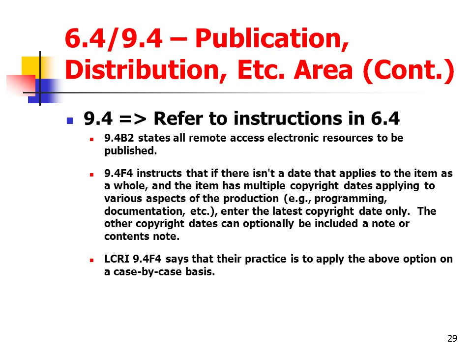 29 6.4/9.4 – Publication, Distribution, Etc.