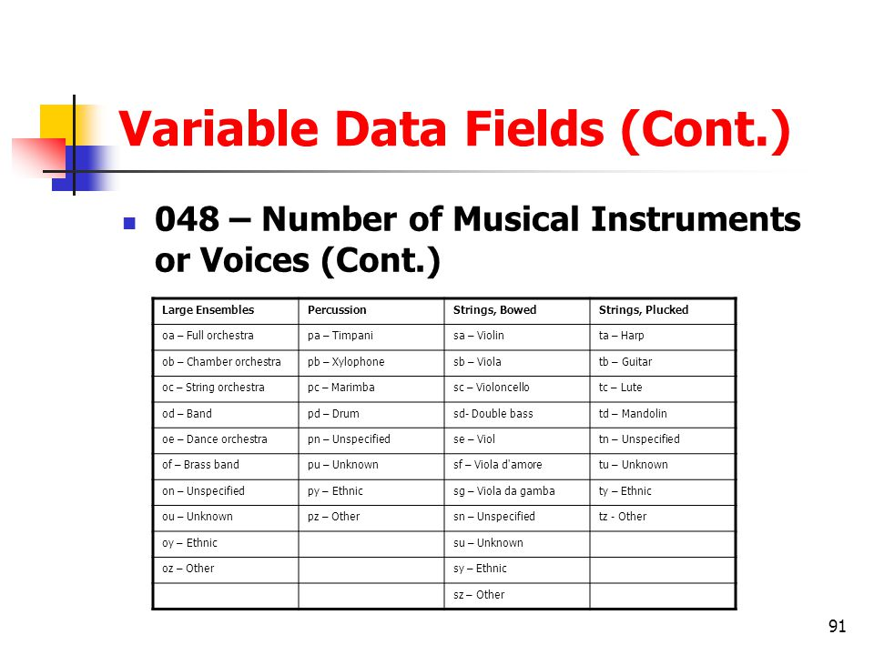 91 Variable Data Fields (Cont.) 048 – Number of Musical Instruments or Voices (Cont.) Large EnsemblesPercussionStrings, BowedStrings, Plucked oa – Full orchestrapa – Timpanisa – Violinta – Harp ob – Chamber orchestrapb – Xylophonesb – Violatb – Guitar oc – String orchestrapc – Marimbasc – Violoncellotc – Lute od – Bandpd – Drumsd- Double basstd – Mandolin oe – Dance orchestrapn – Unspecifiedse – Violtn – Unspecified of – Brass bandpu – Unknownsf – Viola d amoretu – Unknown on – Unspecifiedpy – Ethnicsg – Viola da gambaty – Ethnic ou – Unknownpz – Othersn – Unspecifiedtz - Other oy – Ethnicsu – Unknown oz – Othersy – Ethnic sz – Other