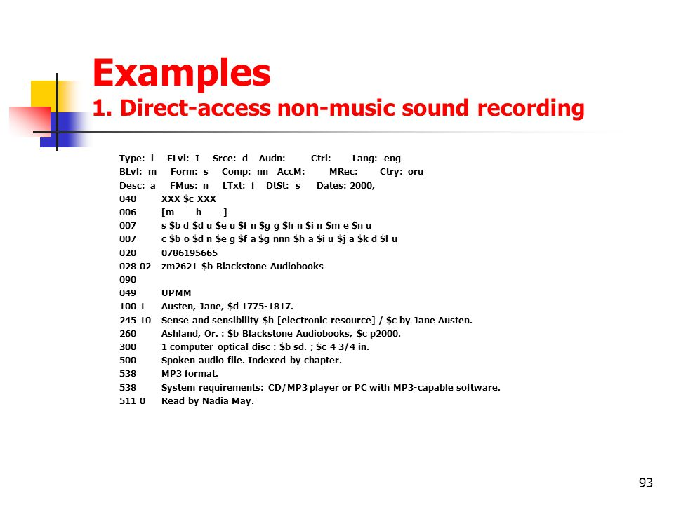 93 Examples 1. Direct-access non-music sound recording Type: i ELvl: I Srce: d Audn: Ctrl: Lang: eng BLvl: m Form: s Comp: nn AccM: MRec: Ctry: oru De