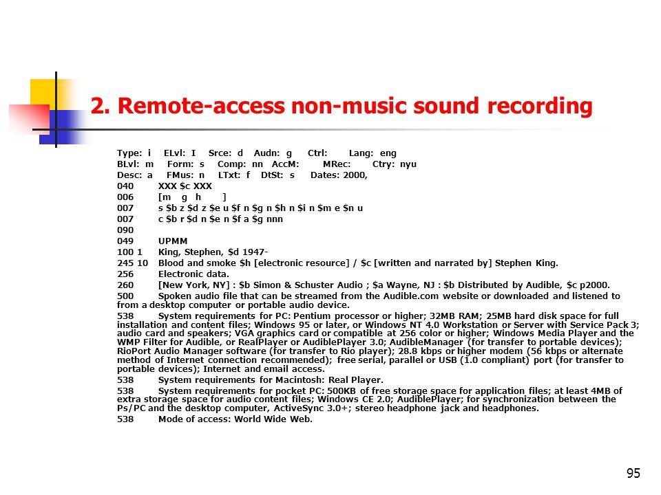 95 2. Remote-access non-music sound recording Type: i ELvl: I Srce: d Audn: g Ctrl: Lang: eng BLvl: m Form: s Comp: nn AccM: MRec: Ctry: nyu Desc: a F