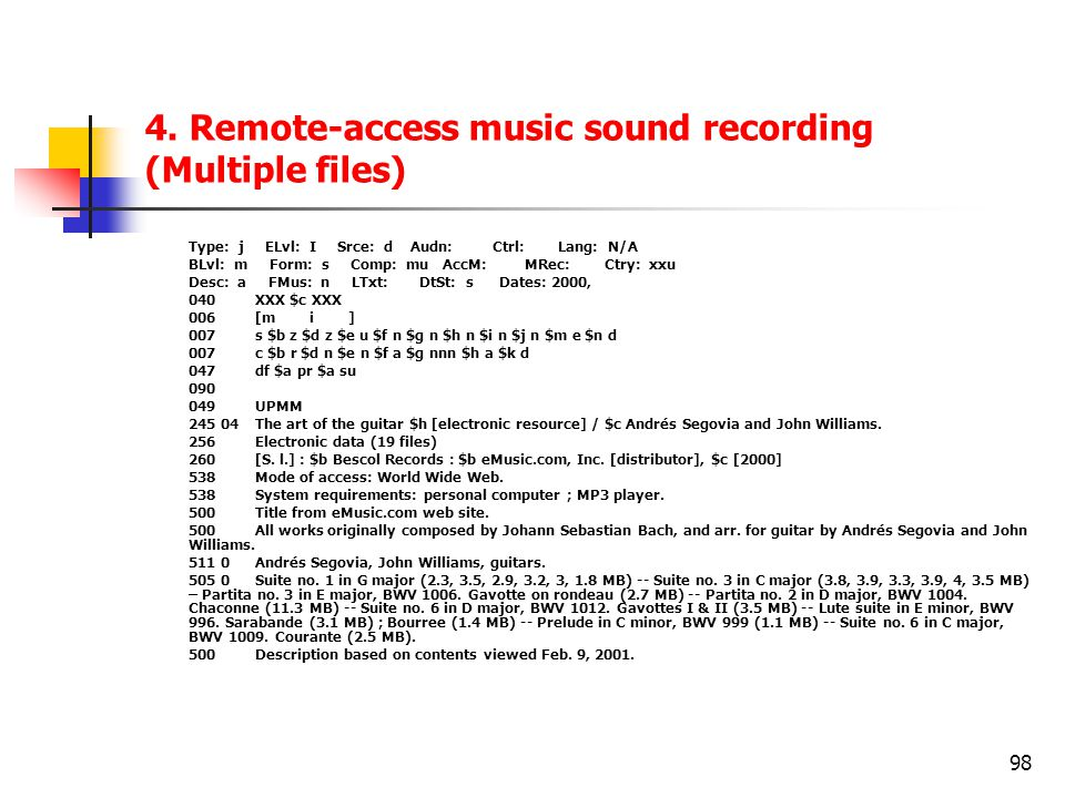 98 4. Remote-access music sound recording (Multiple files) Type: j ELvl: I Srce: d Audn: Ctrl: Lang: N/A BLvl: m Form: s Comp: mu AccM: MRec: Ctry: xx