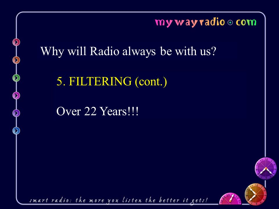 Why will Radio always be with us 5. FILTERING (cont.) Over 22 Years!!!