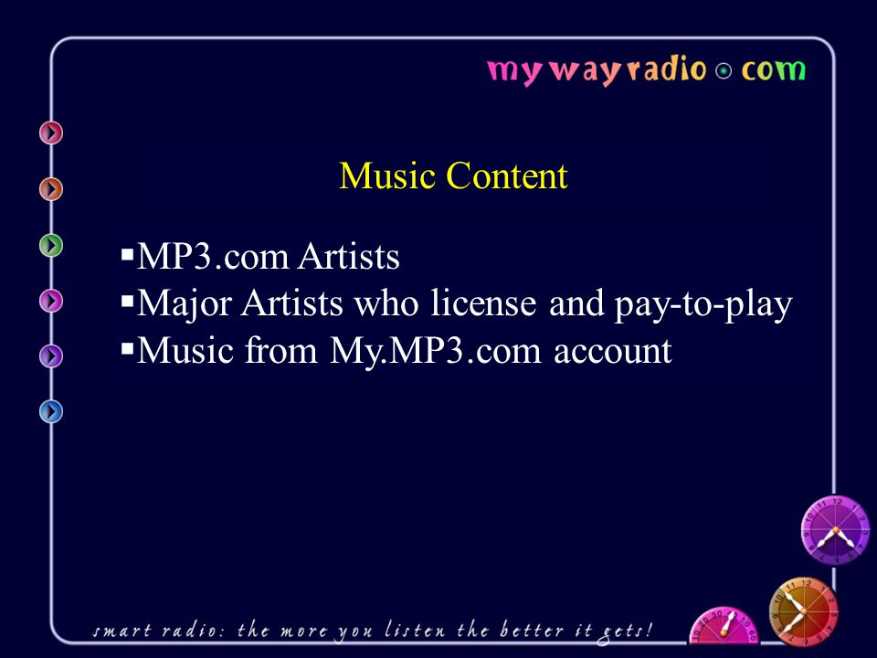  MP3.com Artists  Major Artists who license and pay-to-play  Music from My.MP3.com account Music Content