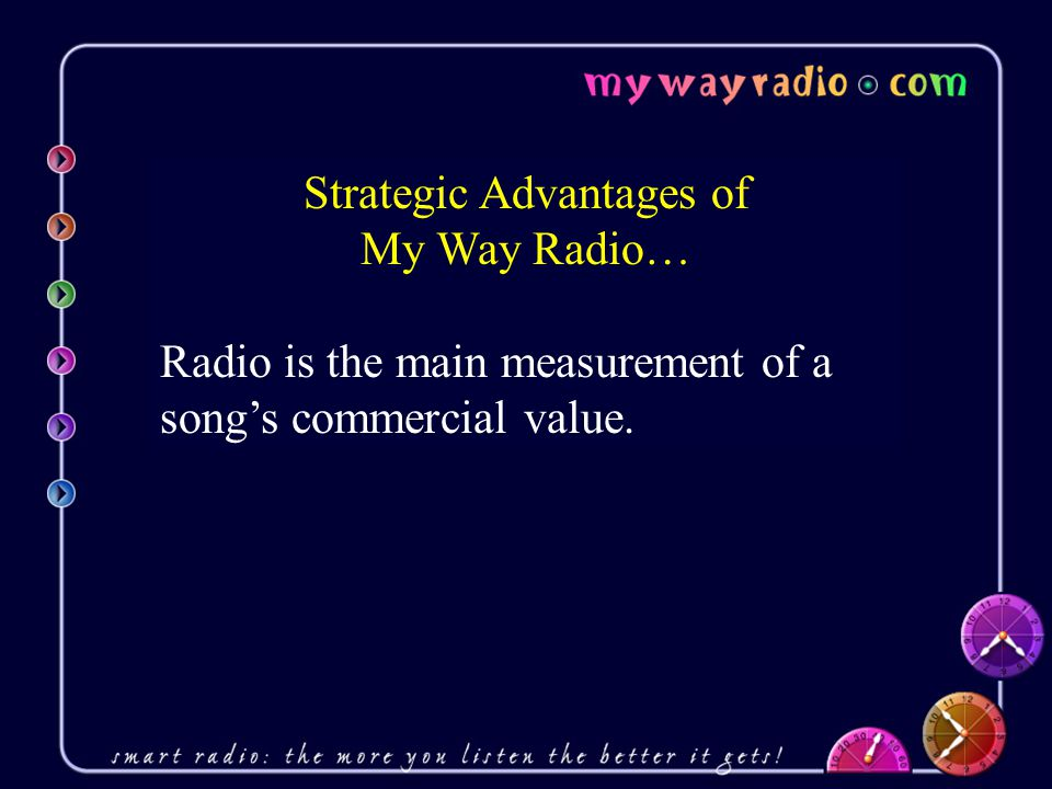 Strategic Advantages of My Way Radio… Radio is the main measurement of a song's commercial value.