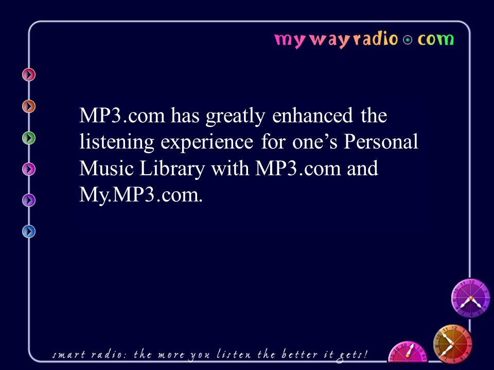 Strategic Advantages of My Way Radio… Listener education via audio bits about all MP3.com programs, features, etc.