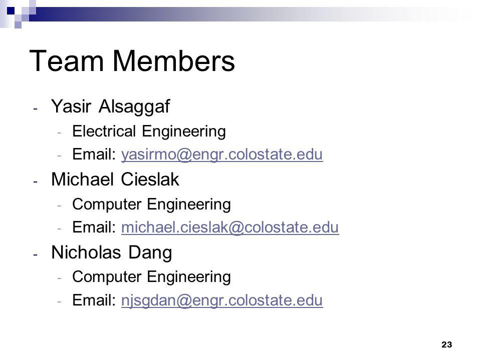 23 Team Members - Yasir Alsaggaf - Electrical Engineering - Email: yasirmo@engr.colostate.eduyasirmo@engr.colostate.edu - Michael Cieslak - Computer Engineering - Email: michael.cieslak@colostate.edumichael.cieslak@colostate.edu - Nicholas Dang - Computer Engineering - Email: njsgdan@engr.colostate.edunjsgdan@engr.colostate.edu