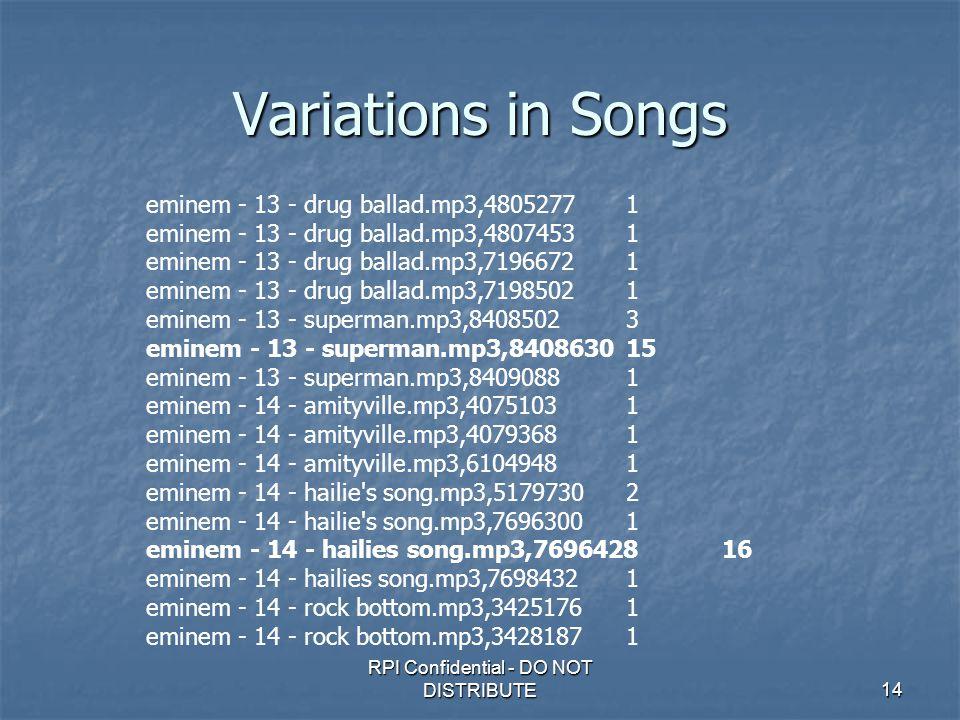 RPI Confidential - DO NOT DISTRIBUTE14 Variations in Songs eminem - 13 - drug ballad.mp3,48052771 eminem - 13 - drug ballad.mp3,48074531 eminem - 13 - drug ballad.mp3,71966721 eminem - 13 - drug ballad.mp3,71985021 eminem - 13 - superman.mp3,84085023 eminem - 13 - superman.mp3,840863015 eminem - 13 - superman.mp3,84090881 eminem - 14 - amityville.mp3,40751031 eminem - 14 - amityville.mp3,40793681 eminem - 14 - amityville.mp3,61049481 eminem - 14 - hailie s song.mp3,51797302 eminem - 14 - hailie s song.mp3,76963001 eminem - 14 - hailies song.mp3,769642816 eminem - 14 - hailies song.mp3,76984321 eminem - 14 - rock bottom.mp3,34251761 eminem - 14 - rock bottom.mp3,34281871