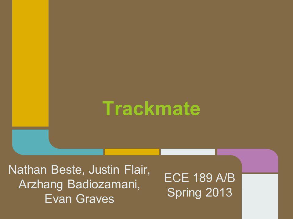 Trackmate Nathan Beste, Justin Flair, Arzhang Badiozamani, Evan Graves ECE 189 A/B Spring 2013