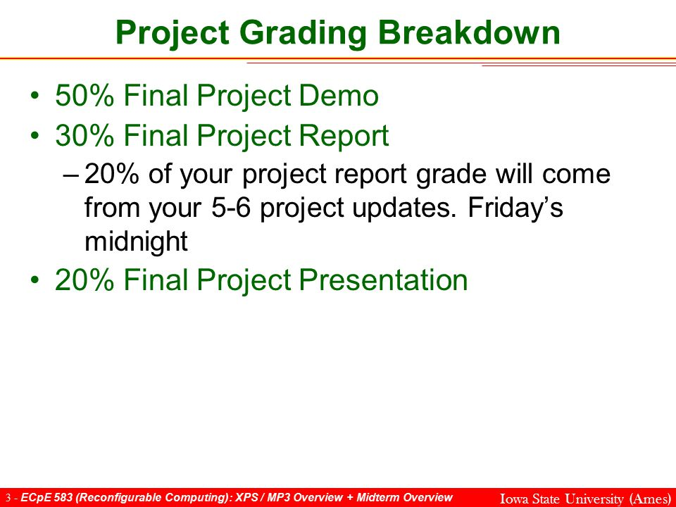3 - ECpE 583 (Reconfigurable Computing): XPS / MP3 Overview + Midterm Overview Iowa State University (Ames) Project Grading Breakdown 50% Final Project Demo 30% Final Project Report –20% of your project report grade will come from your 5-6 project updates.