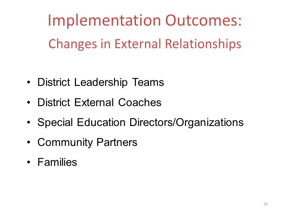 Implementation Outcomes: Changes in External Relationships District Leadership Teams District External Coaches Special Education Directors/Organizations Community Partners Families 35