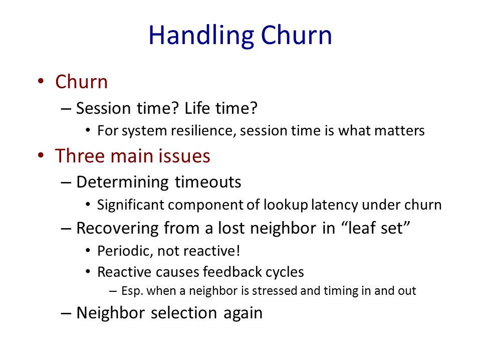 Handling Churn Churn – Session time. Life time.
