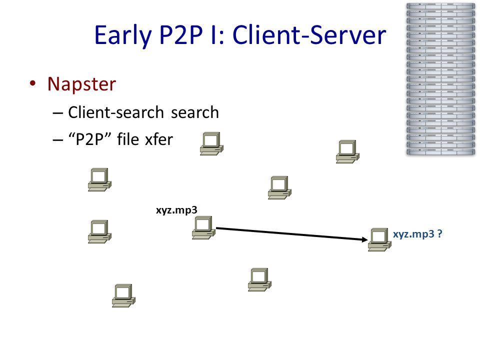 Early P2P I: Client-Server Napster – Client-search search – P2P file xfer xyz.mp3 xyz.mp3