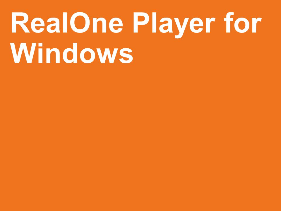RealOne Player for Windows