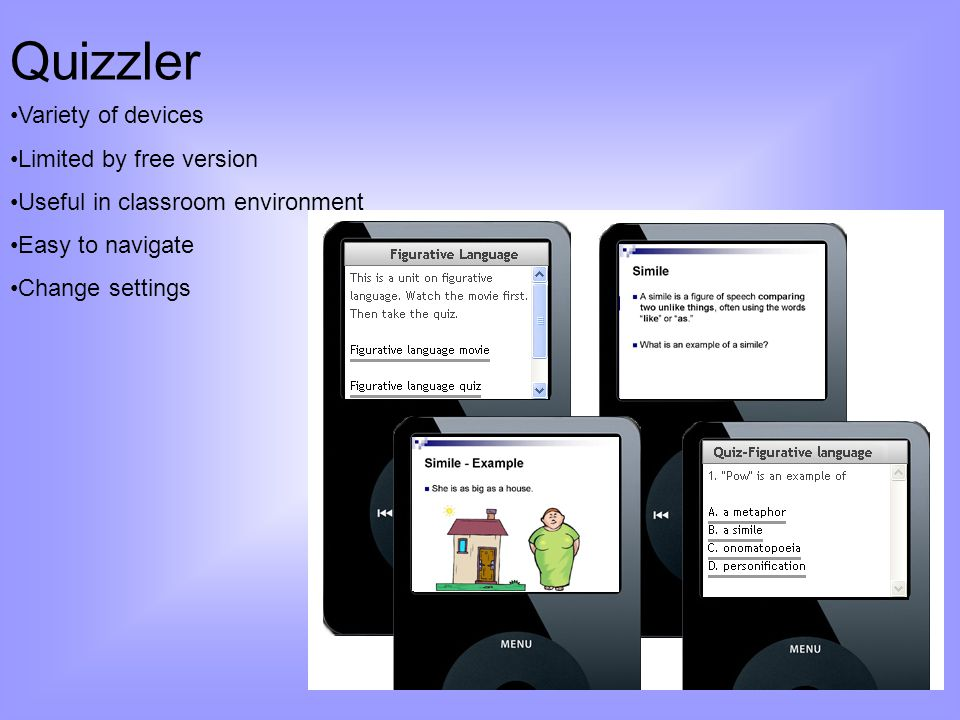Quizzler Variety of devices Limited by free version Useful in classroom environment Easy to navigate Change settings