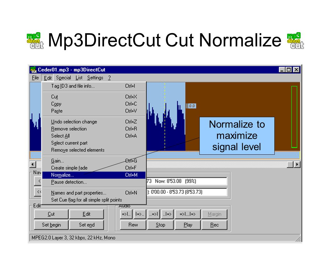 Mp3DirectCut Cut Normalize Normalize to maximize signal level