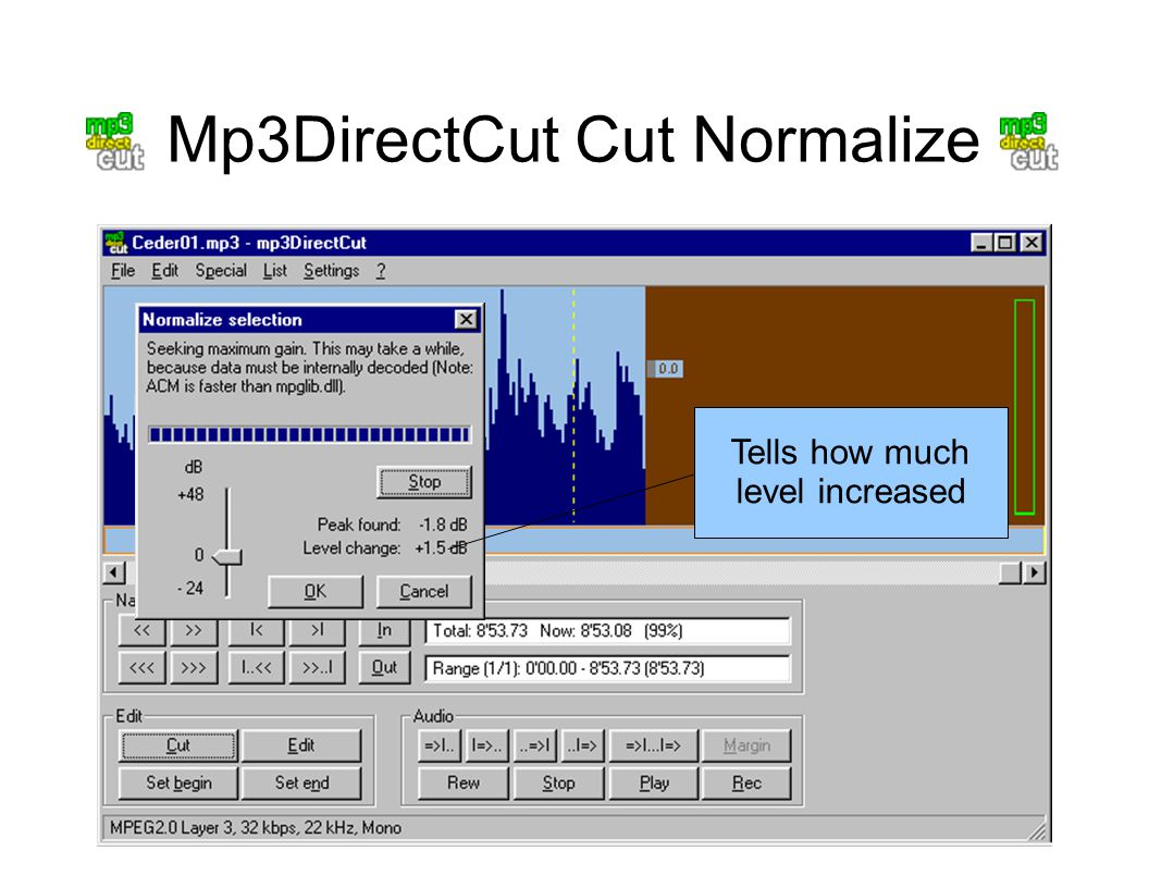 Mp3DirectCut Cut Normalize Tells how much level increased