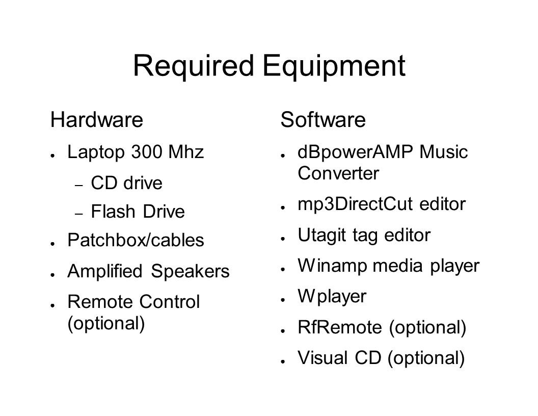 Required Equipment Hardware ● Laptop 300 Mhz – CD drive – Flash Drive ● Patchbox/cables ● Amplified Speakers ● Remote Control (optional) Software ● dBpowerAMP Music Converter ● mp3DirectCut editor ● Utagit tag editor ● Winamp media player ● Wplayer ● RfRemote (optional) ● Visual CD (optional)