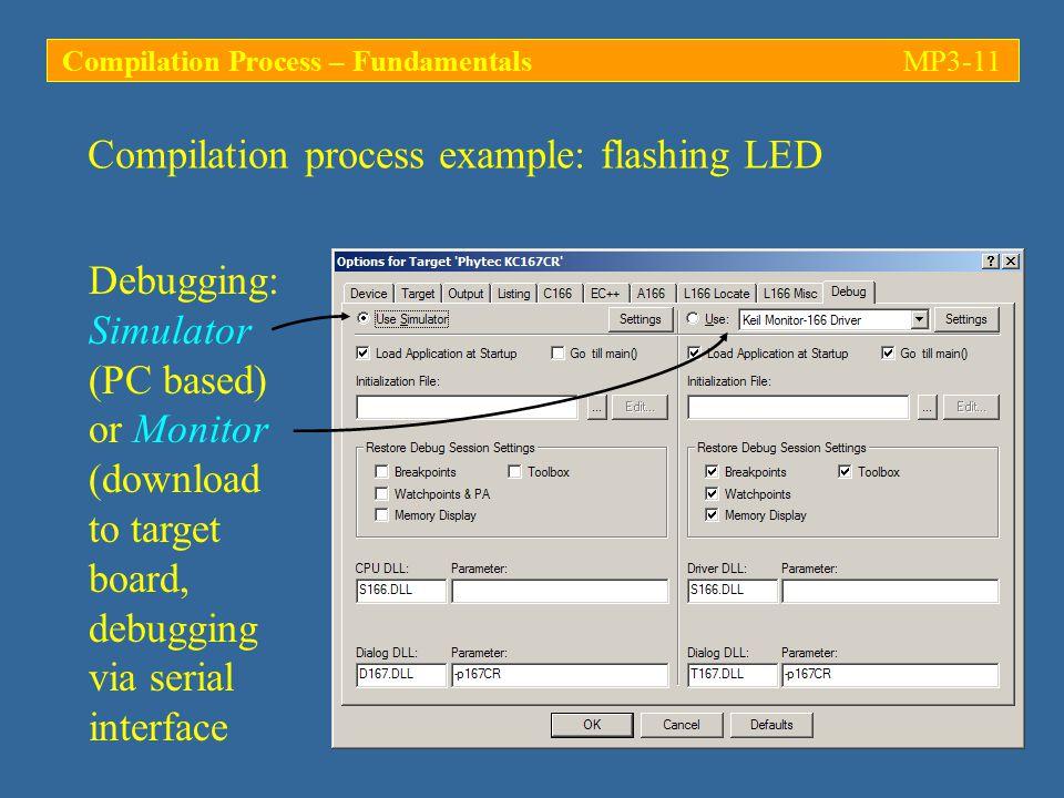Debugging: Simulator (PC based) or Monitor (download to target board, debugging via serial interface Compilation process example: flashing LED Compilation Process – FundamentalsMP3-11